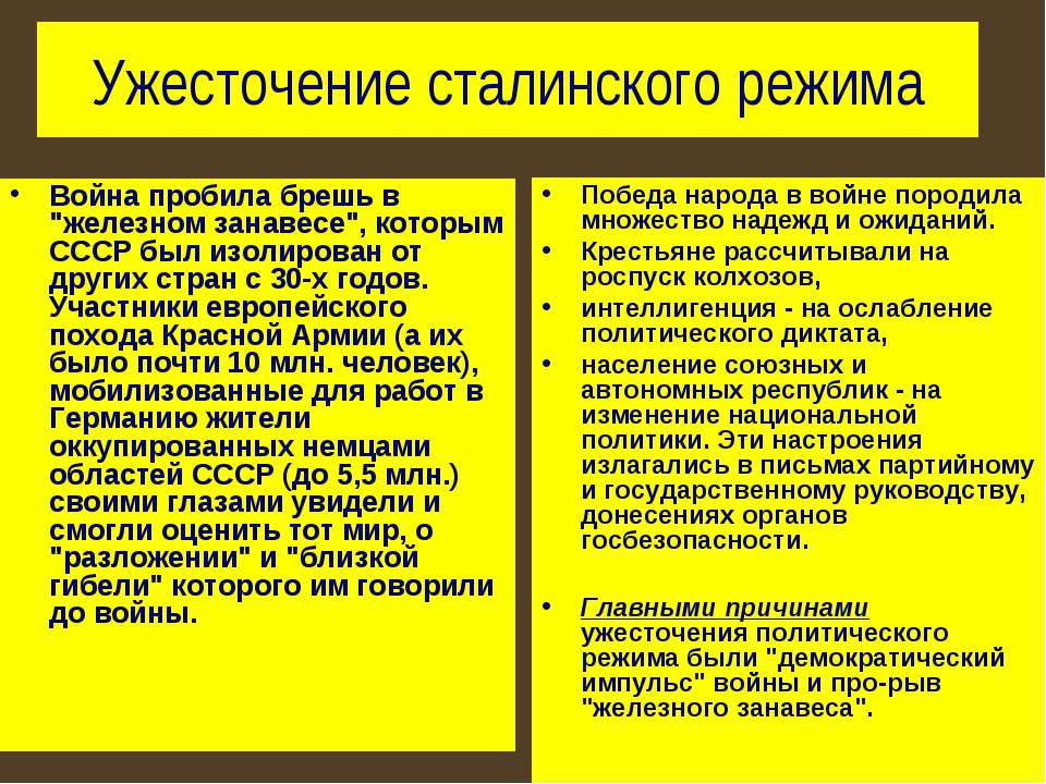 """Ужесточение сталинского режима Война пробила брешь в """"железном занавесе"""", кот..."""