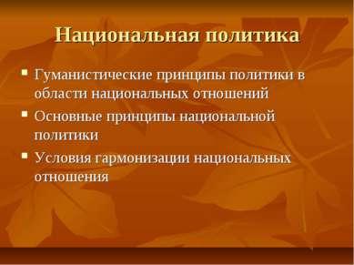 Национальная политика Гуманистические принципы политики в области национальны...