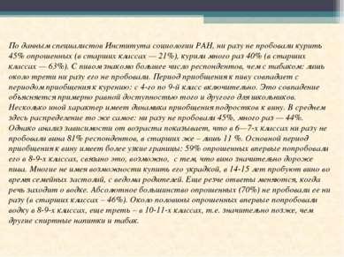 По данным специалистов Института социологии РАН, ни разу не пробовали курить ...
