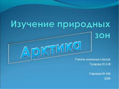 Учитель начальных классов Гусакова Ю.А.© Гимназия № 446 2008