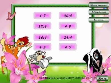 Таблица умножения Таблица деления Конец Ещё играть 8 4·2 20 4·5 28 4·7 32 4·8...