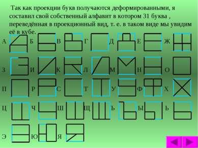 Так как проекции букв получаются деформированными, я составил свой собственны...