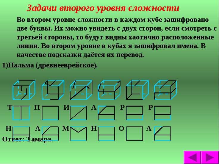 Задачи второго уровня сложности Во втором уровне сложности в каждом кубе заши...
