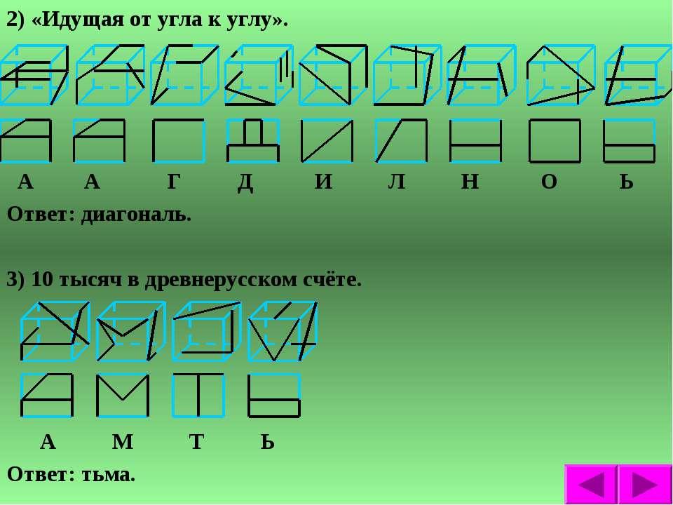 2) «Идущая от угла к углу». А А Г Д И Л Н О Ь Ответ: диагональ. 3) 10 тысяч в...