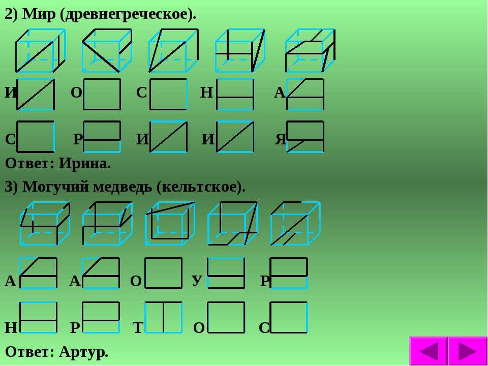 2) Мир (древнегреческое). И О С Н А С Р И И Я Ответ: Ирина. 3) Могучий медвед...