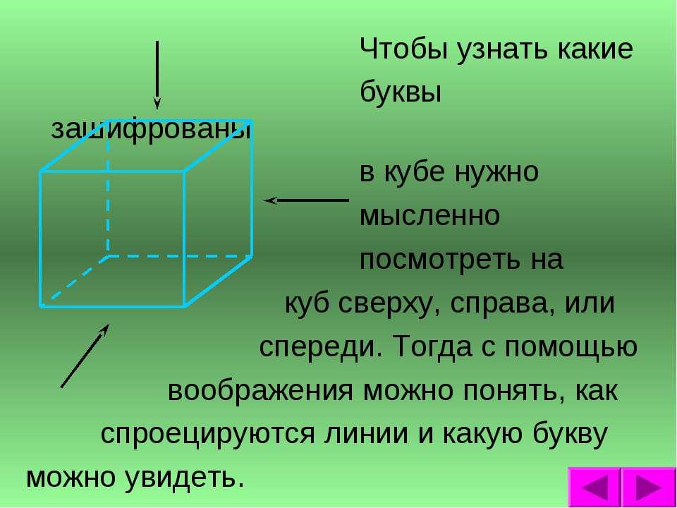 Чтобы узнать какие буквы зашифрованы в кубе нужно мысленно посмотреть на куб ...