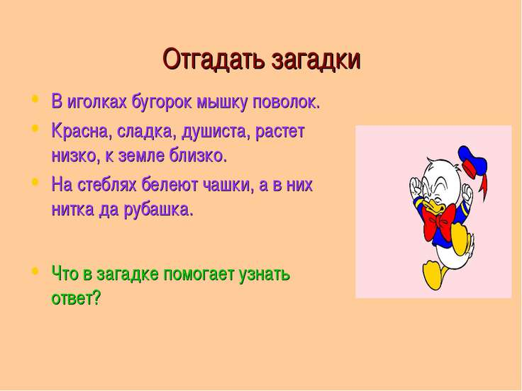 Отгадать загадки В иголках бугорок мышку поволок. Красна, сладка, душиста, ра...