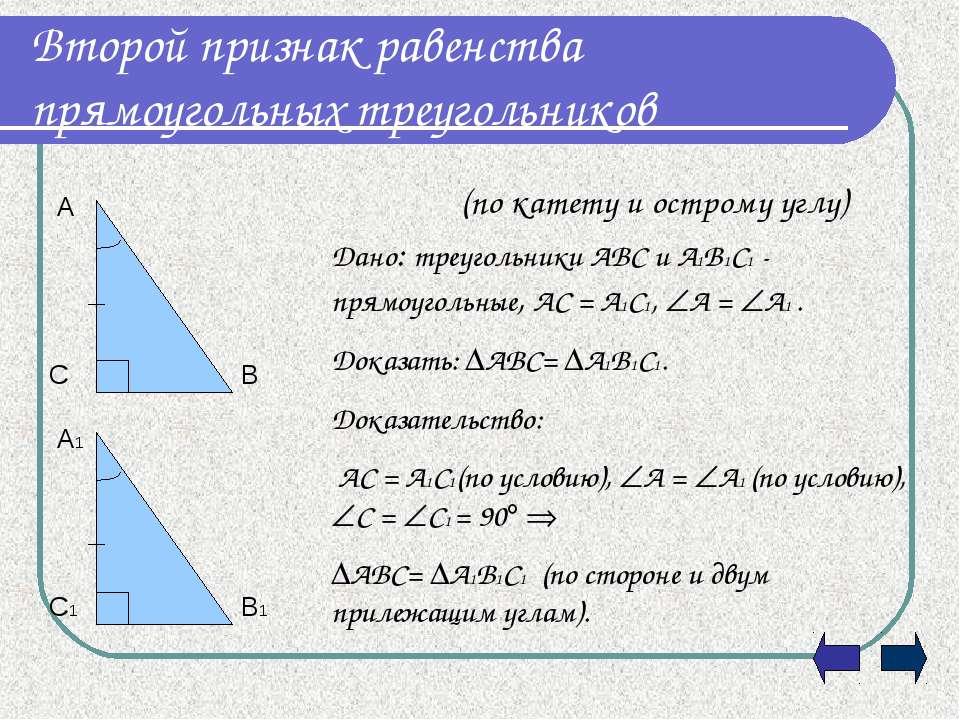 Второй признак равенства прямоугольных треугольников (по катету и острому угл...