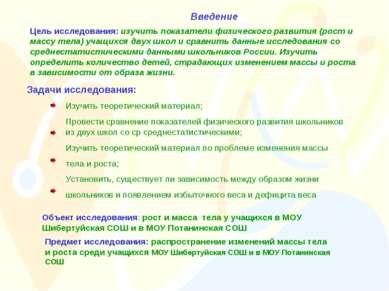 Введение Цель исследования: изучить показатели физического развития (рост и м...