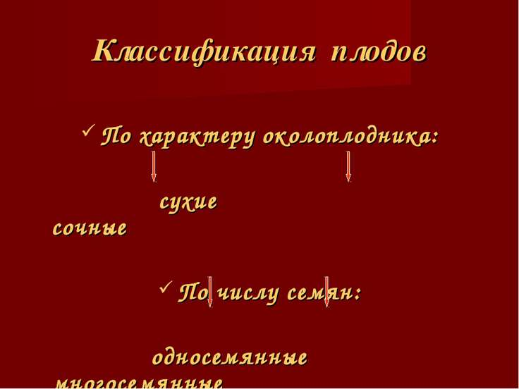 Классификация плодов По характеру околоплодника: сухие сочные По числу семян:...