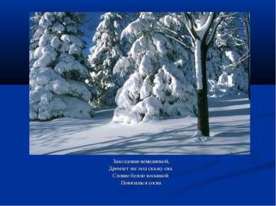 Заколдован невидимкой, Дремлет лес под сказку сна. Словно белою косынкой Повя...