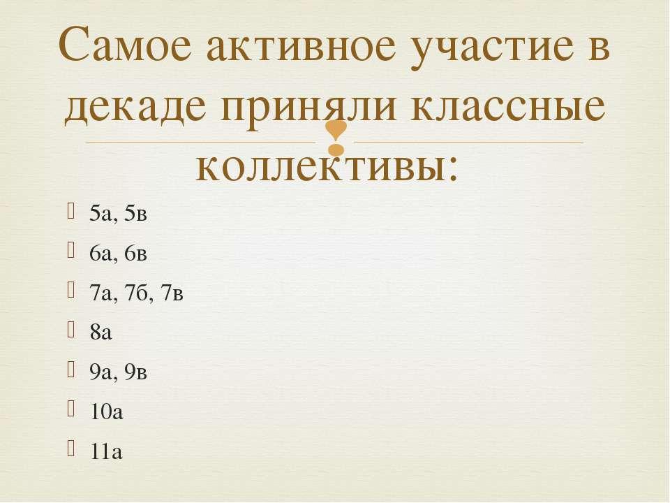 5а, 5в 6а, 6в 7а, 7б, 7в 8а 9а, 9в 10а 11а Самое активное участие в декаде пр...