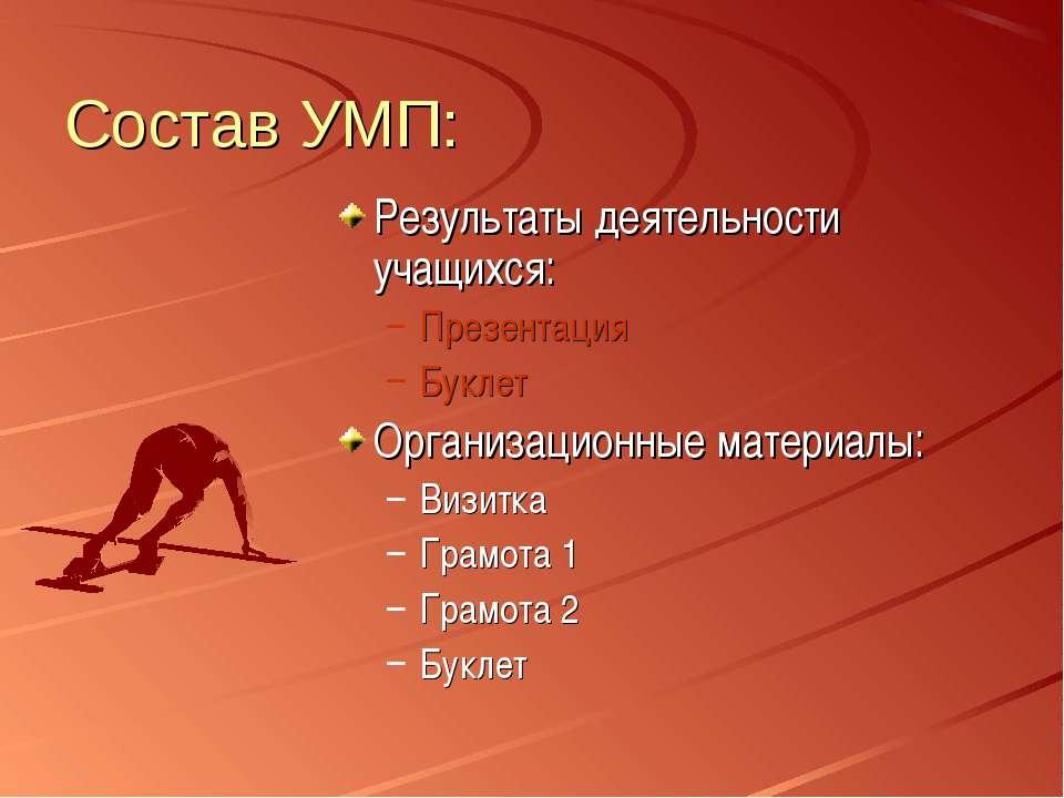 Состав УМП: Результаты деятельности учащихся: Презентация Буклет Организацион...