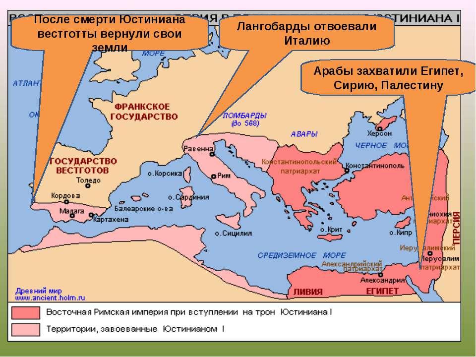 После смерти Юстиниана вестготты вернули свои земли Арабы захватили Египет, С...