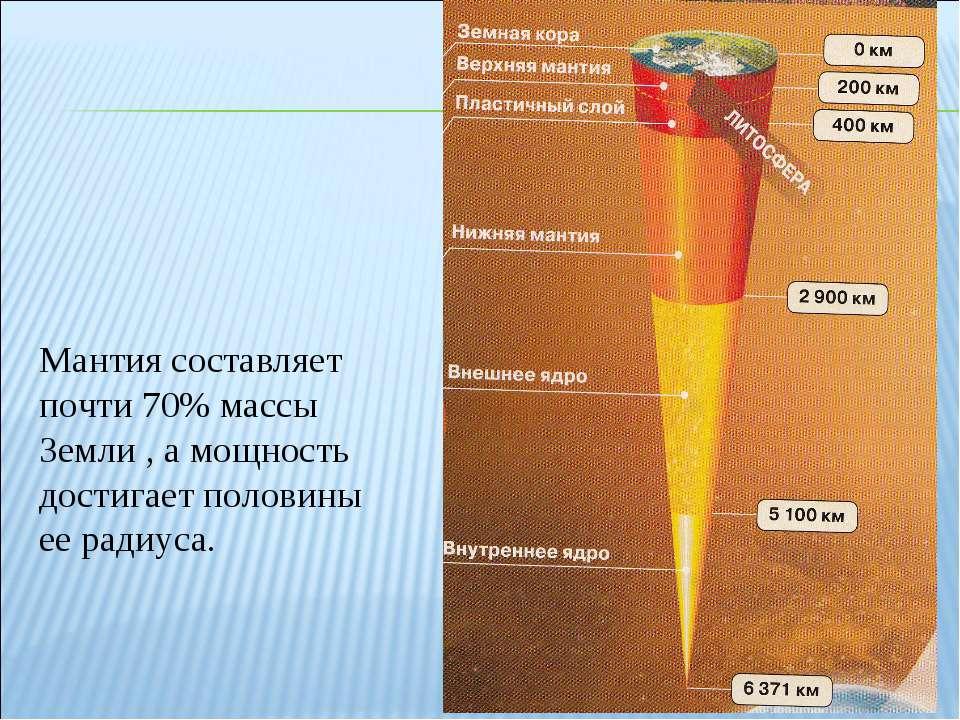 Мантия составляет почти 70% массы Земли , а мощность достигает половины ее ра...