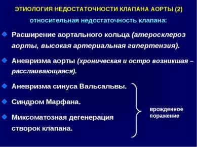 ЭТИОЛОГИЯ НЕДОСТАТОЧНОСТИ КЛАПАНА АОРТЫ (2) относительная недостаточность кла...