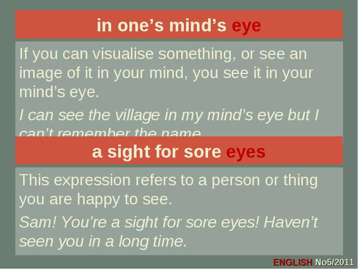 in one's mind's eye If you can visualise something, or see an image of it in ...