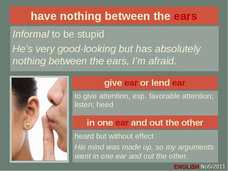 give ear or lend ear to give attention, esp. favorable attention; listen; hee...