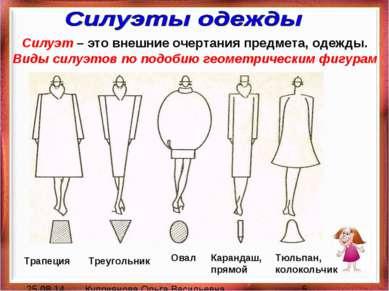 Силуэт – это внешние очертания предмета, одежды. Виды силуэтов по подобию гео...
