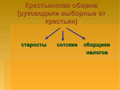 Крестьянская община (руководили выборные от крестьян) старосты сотские сборщи...