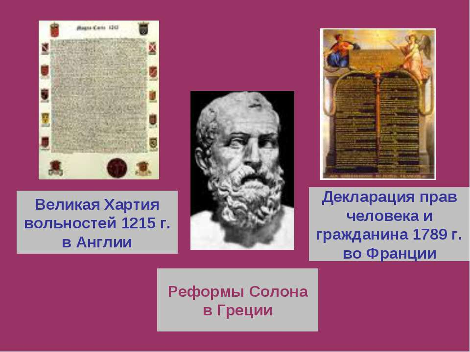 Великая Хартия вольностей 1215 г. в Англии Реформы Солона в Греции Декларация...