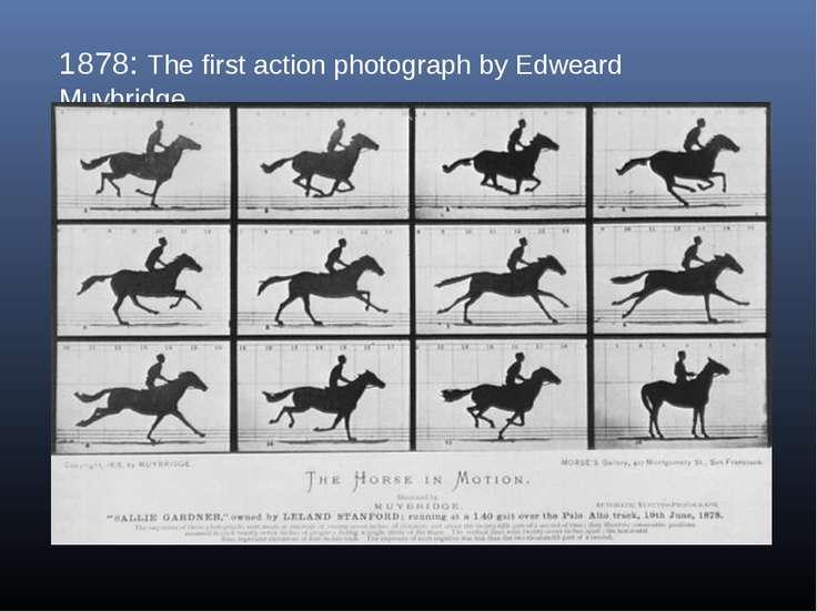 1878: The first action photograph by Edweard Muybridge