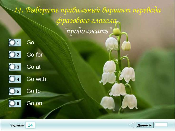14 Задание Go Go for Go at Go with Далее ► Go to Go on 14. Выберите правильны...