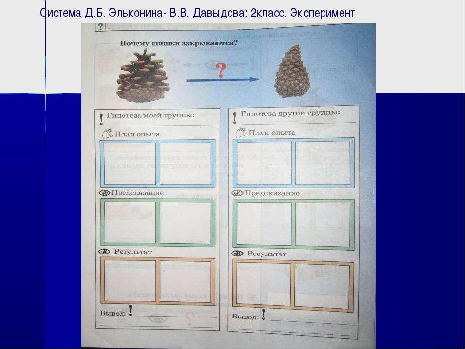 Система Д.Б. Эльконина- В.В. Давыдова: 2класс. Эксперимент