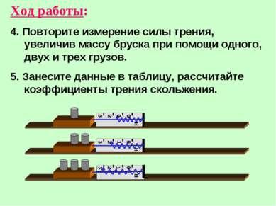 Ход работы: 4. Повторите измерение силы трения, увеличив массу бруска при пом...