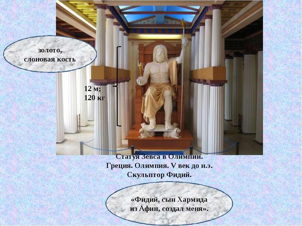 Статуя Зевса в Олимпии. Греция. Олимпия. V век до н.э. Скульптор Фидий. 12 м;...