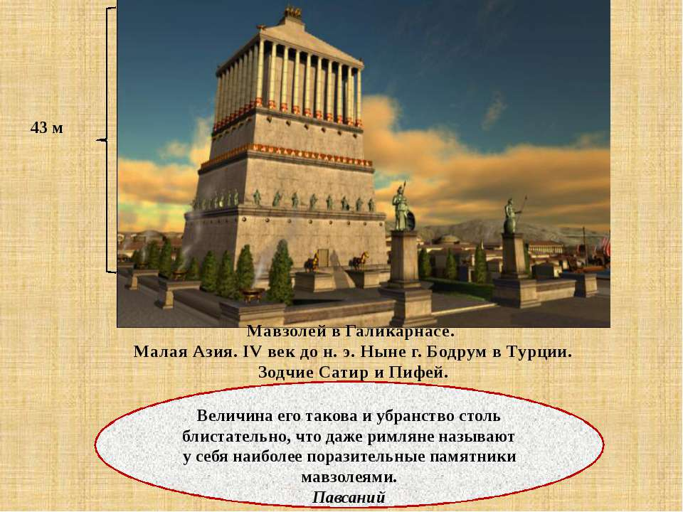 Мавзолей в Галикарнасе. Малая Азия. IV век до н. э. Ныне г. Бодрум в Турции. ...