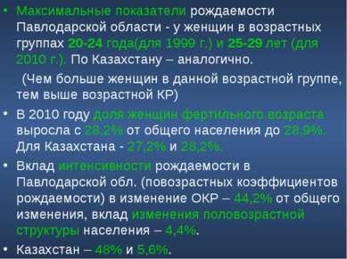 Максимальные показатели рождаемости Павлодарской области - у женщин в возраст...