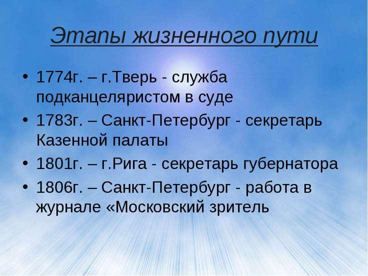 Этапы жизненного пути 1774г. – г.Тверь - служба подканцеляристом в суде 1783г...