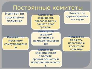 Постоянные комитеты Комитет по законности, правопорядку и защите прав граждан...