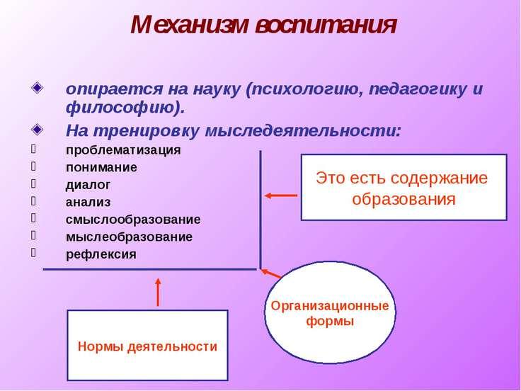 Механизм воспитания опирается на науку (психологию, педагогику и философию). ...