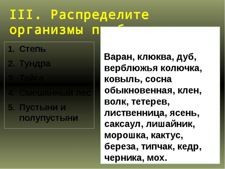 III. Распределите организмы по биотопам Степь Тундра Тайга Смешанный лес Пуст...