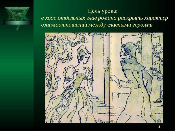 * Цель урока: в ходе отдельных глав романа раскрыть характер взаимоотношений ...