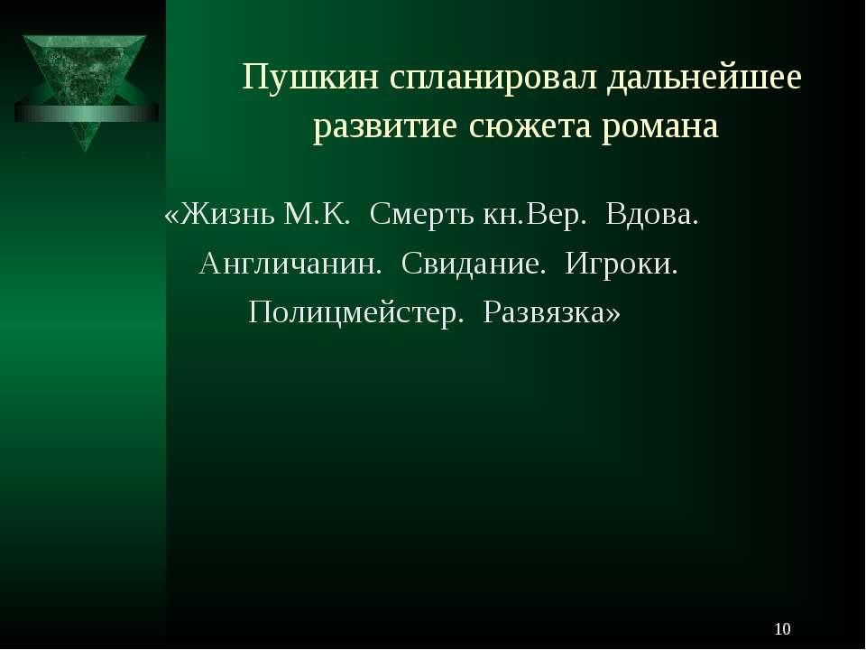 * Пушкин спланировал дальнейшее развитие сюжета романа «Жизнь М.К. Смерть кн....
