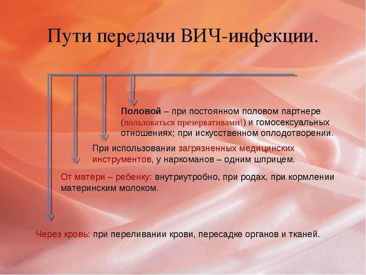 Пути передачи ВИЧ-инфекции. Через кровь: при переливании крови, пересадке орг...