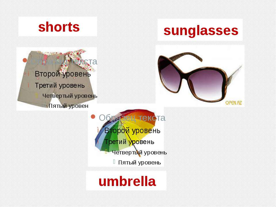 shorts umbrella sunglasses