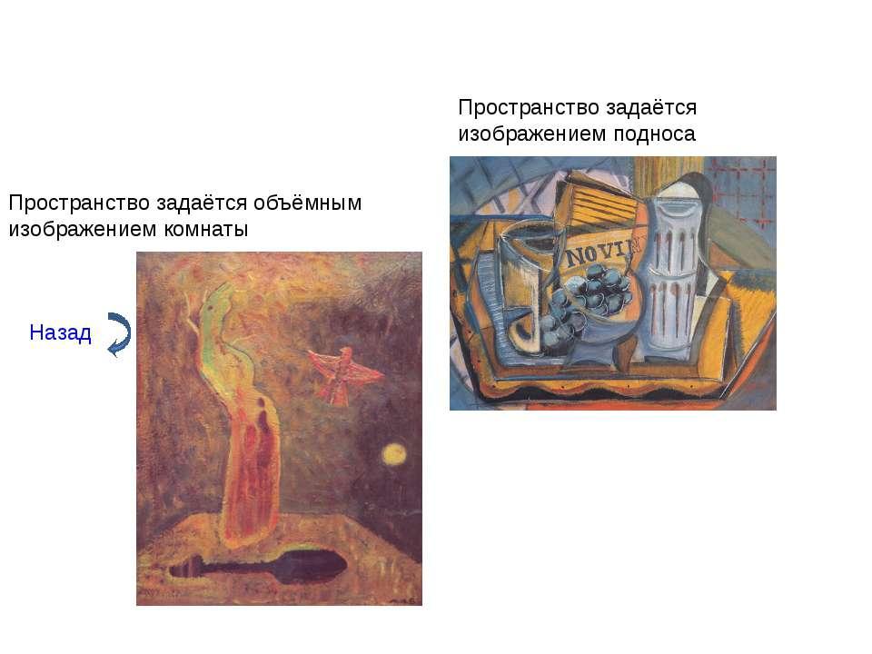 Назад Пространство задаётся объёмным изображением комнаты Пространство задаёт...