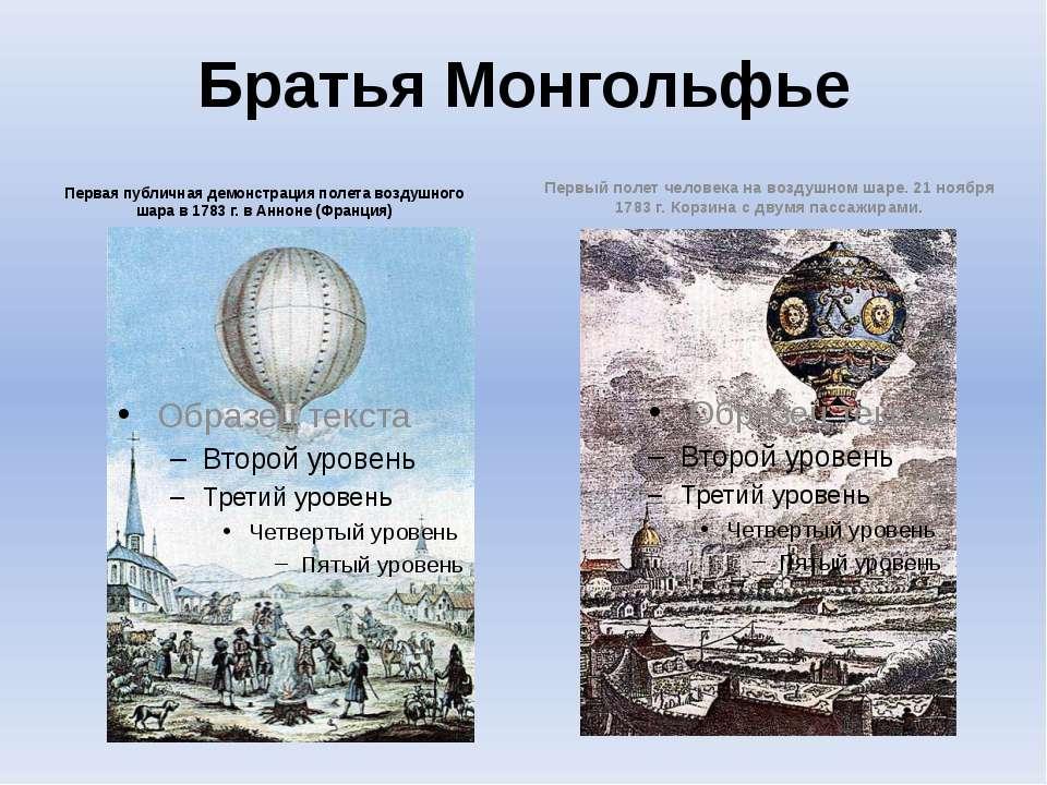 Братья Монгольфье Первая публичная демонстрация полета воздушного шара в 1783...