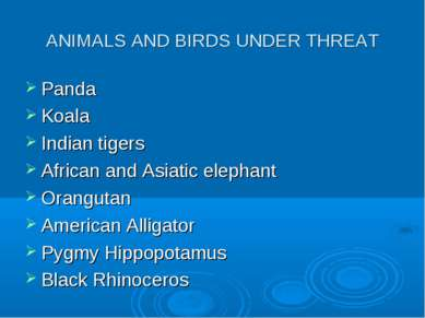 ANIMALS AND BIRDS UNDER THREAT Panda Koala Indian tigers African and Asiatic ...