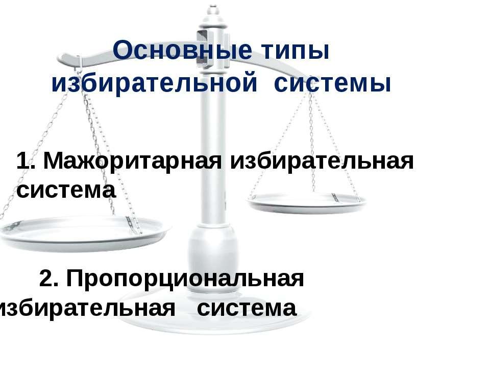 Основные типы избирательной системы 1. Мажоритарная избирательная система 2. ...
