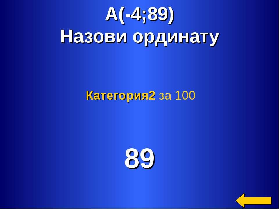 А(-4;89) Назови ординату 89 Категория2 за 100