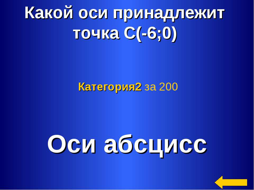 Какой оси принадлежит точка С(-6;0) Оси абсцисс Категория2 за 200