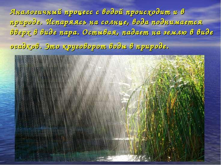 Аналогичный процесс с водой происходит и в природе. Испаряясь на солнце, вода...