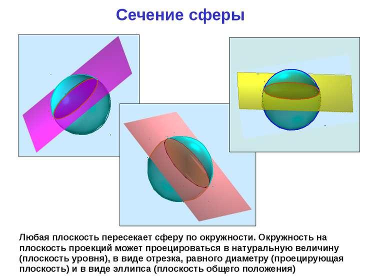 Сечение сферы Любая плоскость пересекает сферу по окружности. Окружность на п...