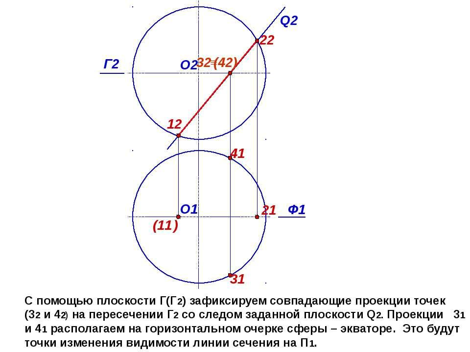 С помощью плоскости Г(Г2) зафиксируем совпадающие проекции точек (32 и 42) на...