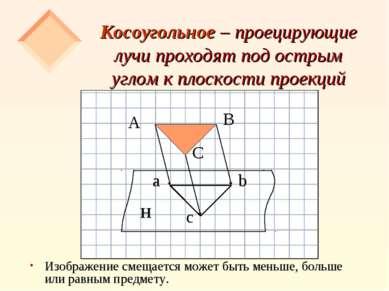 Косоугольное – проецирующие лучи проходят под острым углом к плоскости проекц...